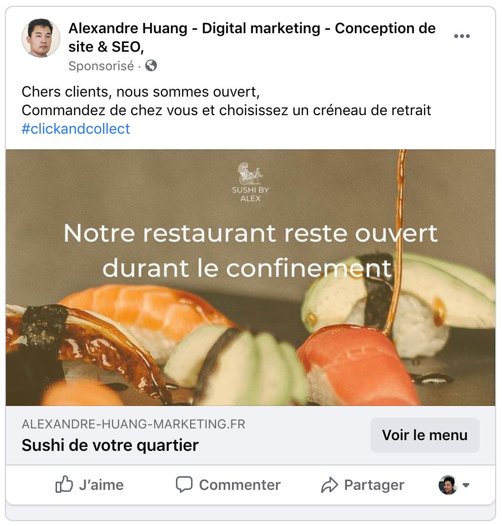 bannière click-and-collect facebook ad pour restaurant